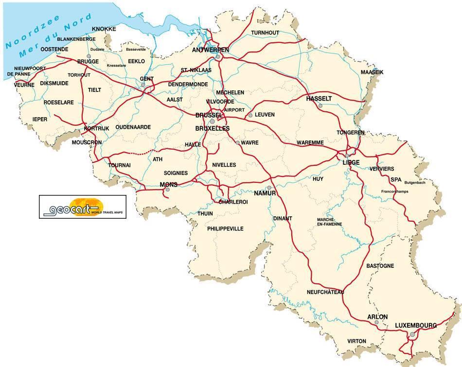 Carte Belgique Geel.Belgique De Cyclisme Carte Carte De Belgique De Cyclisme